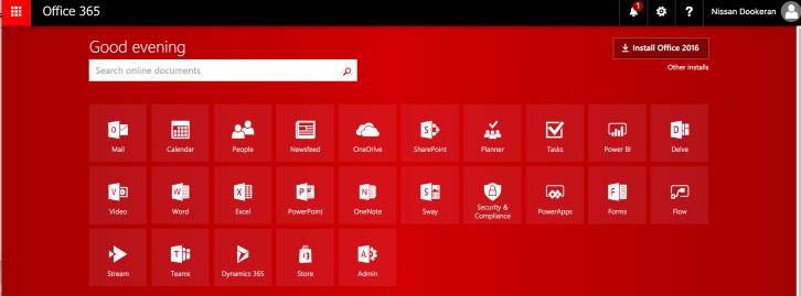 Office 365 Portal Menu.png